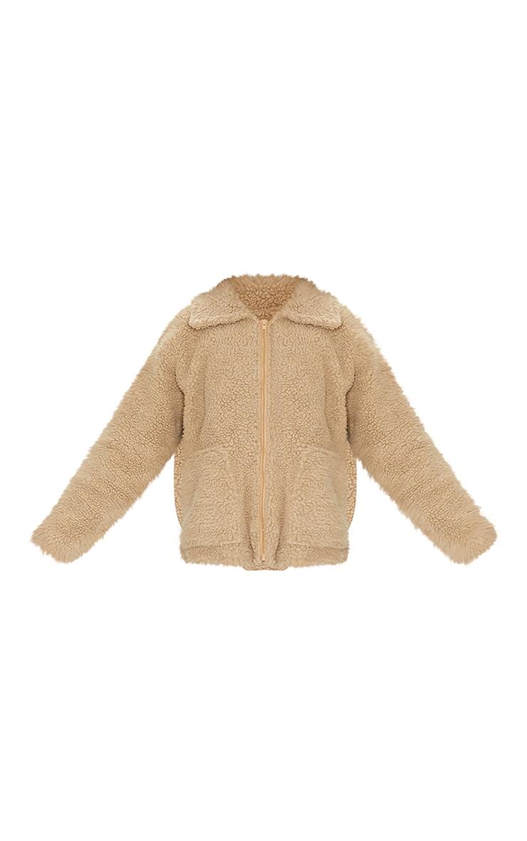 Camel Borg Zip Up Oversized Jacket 5