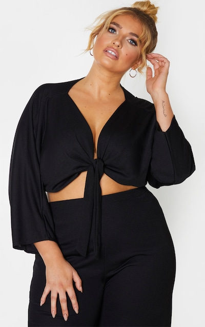 Plus Black Tie Detail Batwing Crop Top