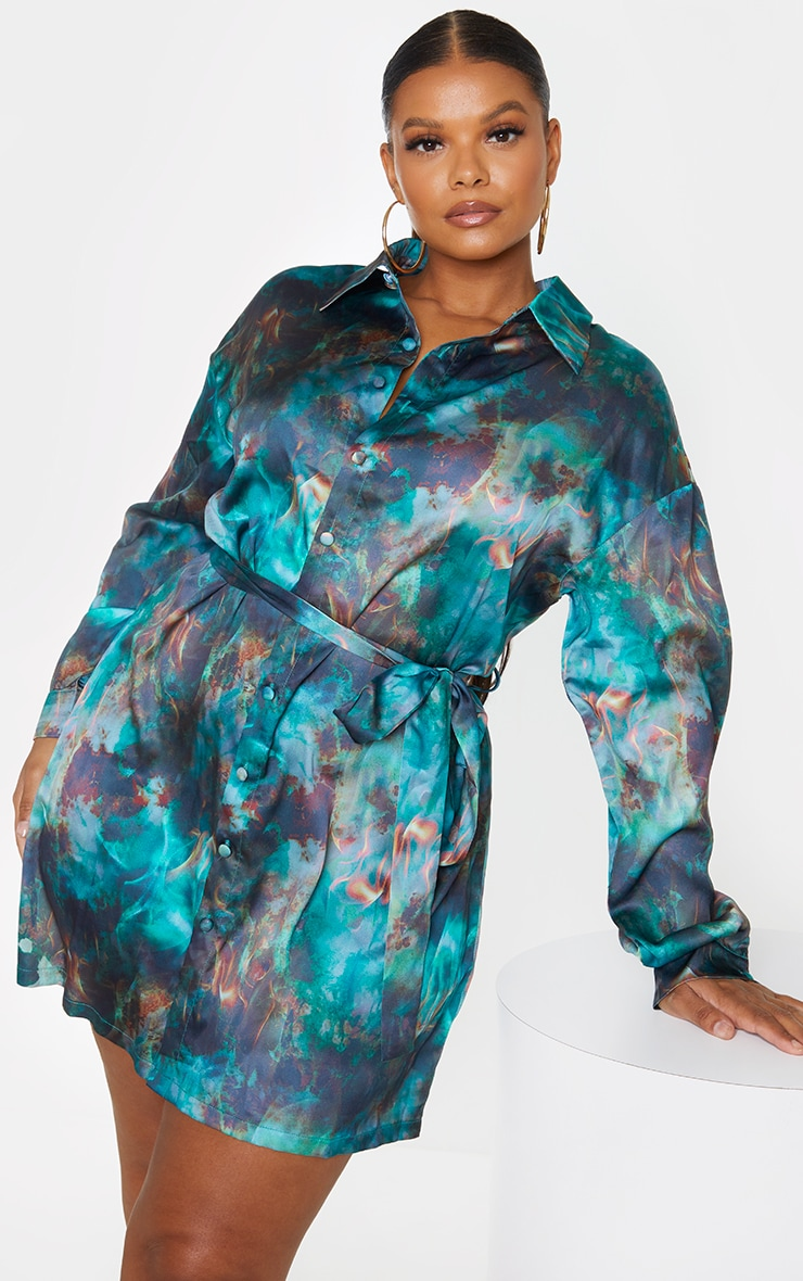 Plus Green Flame Tie Dye Printed Tie Waist Shirt Dress 1