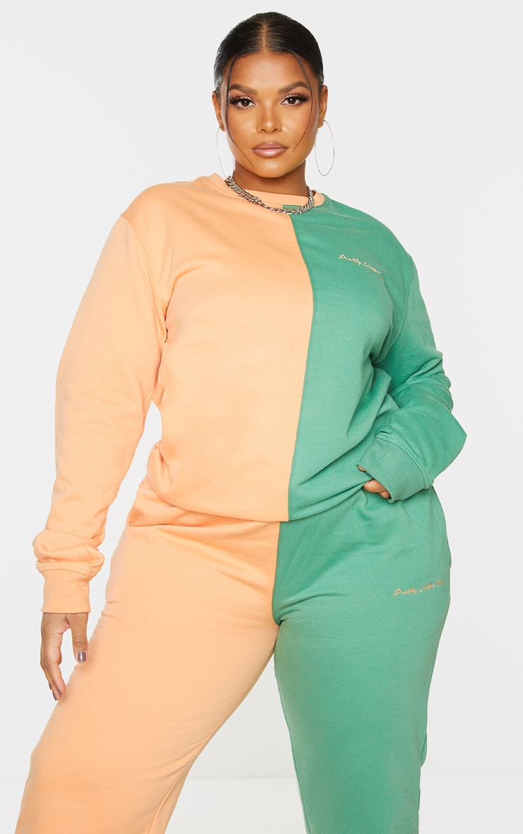 PRETTYLITTLETHING Plus Peach Color Block Sweatshirt 1