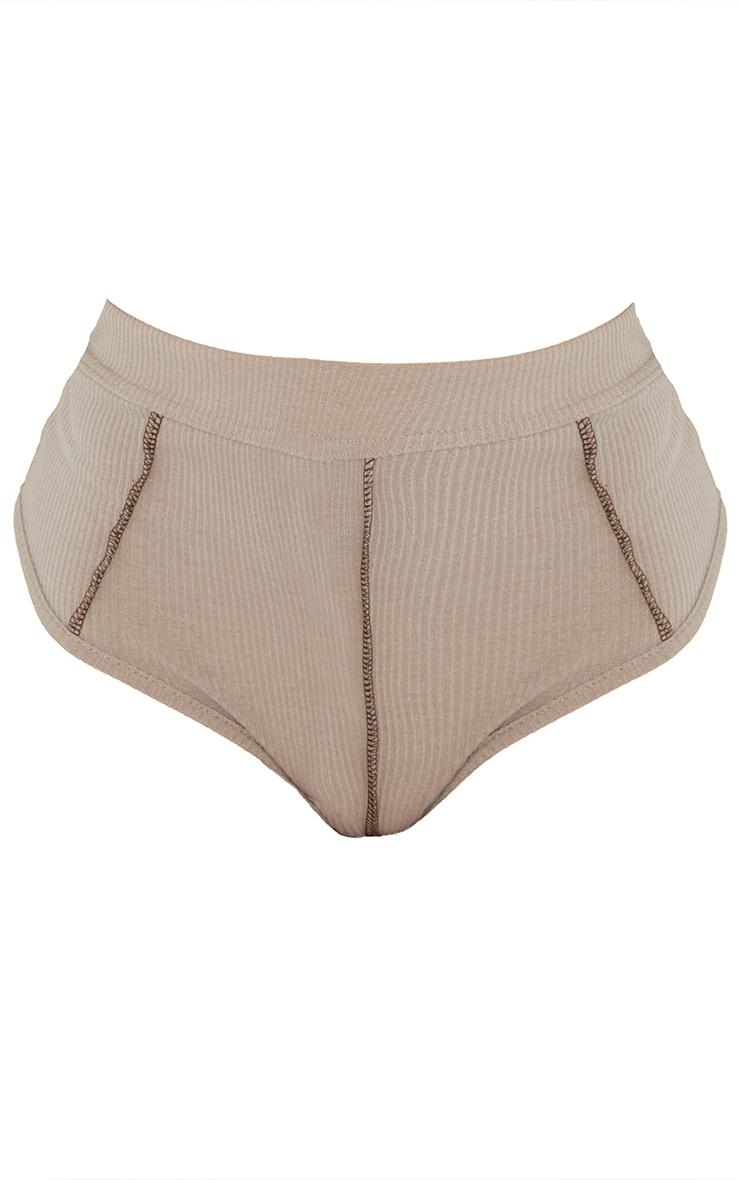 Culotte gris pierre côtelé doux à taille haute et coutures contrastantes 6