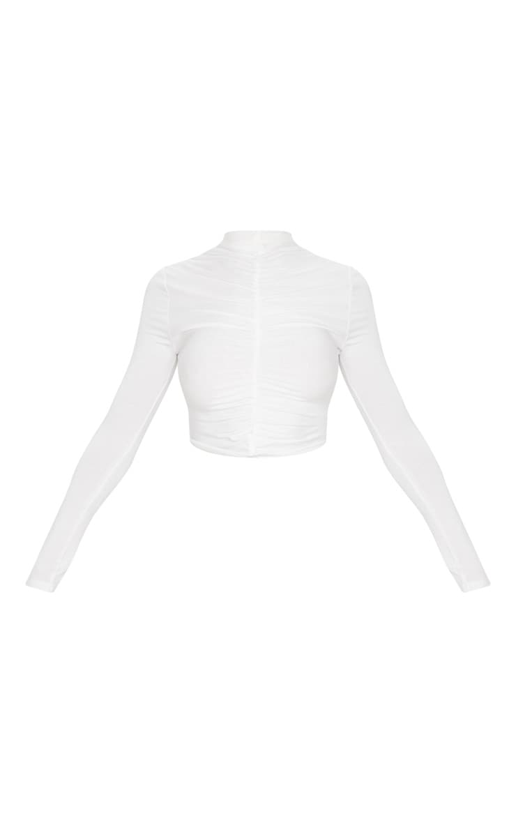 White Jersey High Neck Ruched Front Crop Top 3