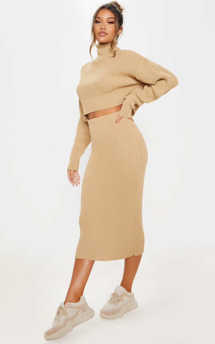 Stone Ribbed Knitted Midi Skirt 1