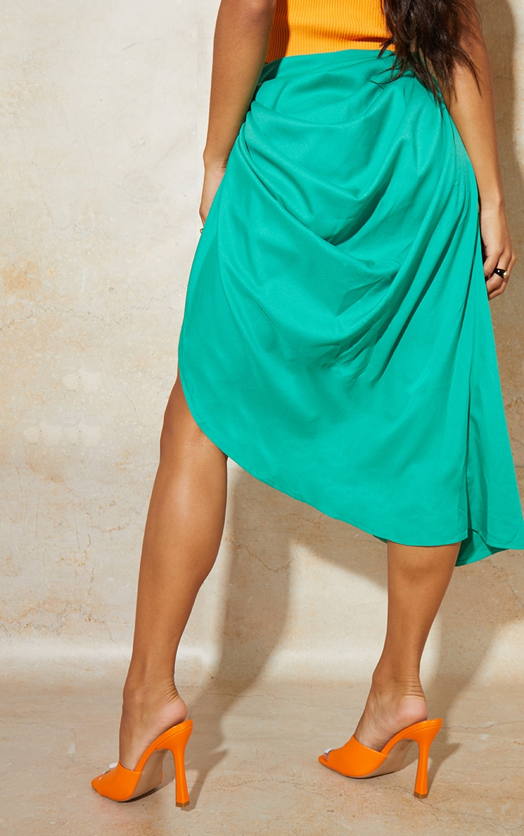 Bright Green Ruched Side Midi Skirt 3