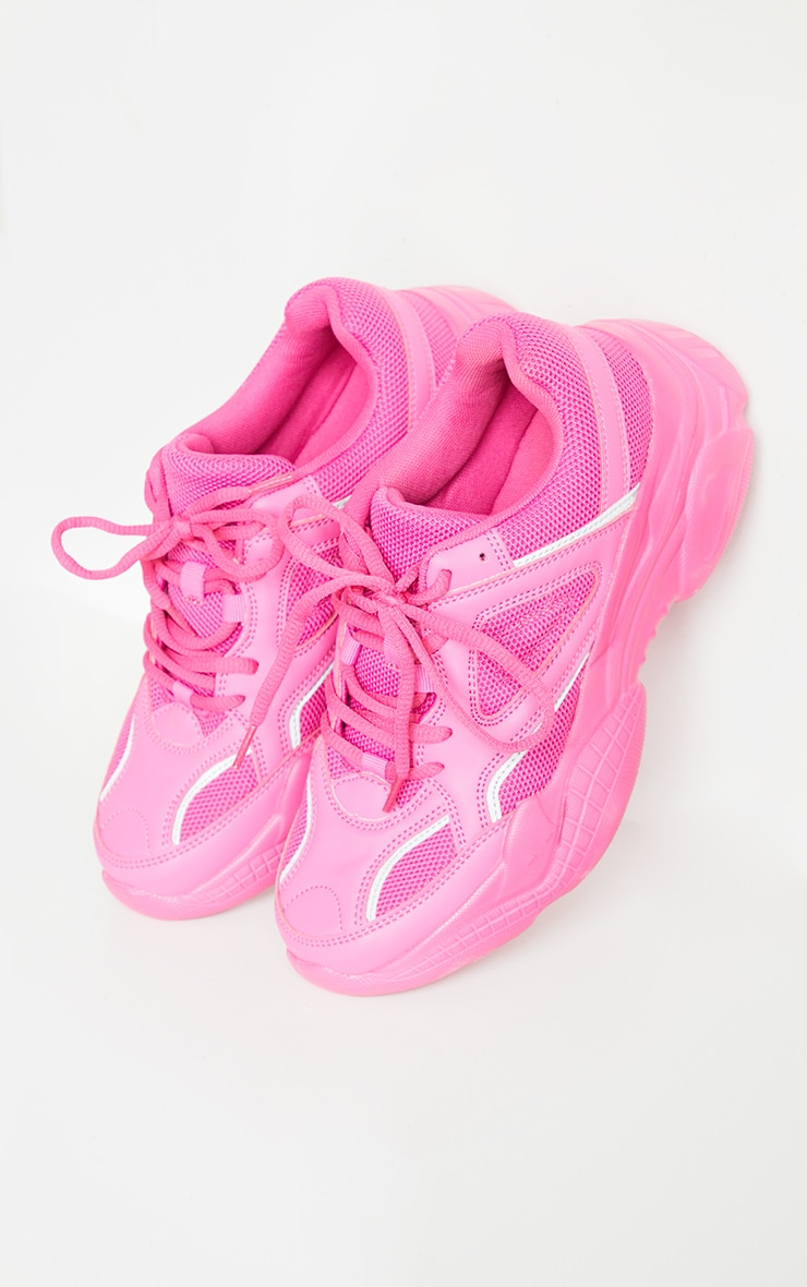 Hot Pink Reflective Panel Arch Sole Chunky Trainers 3