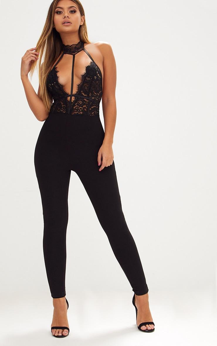 Black Lace Harness Jumpsuit 1