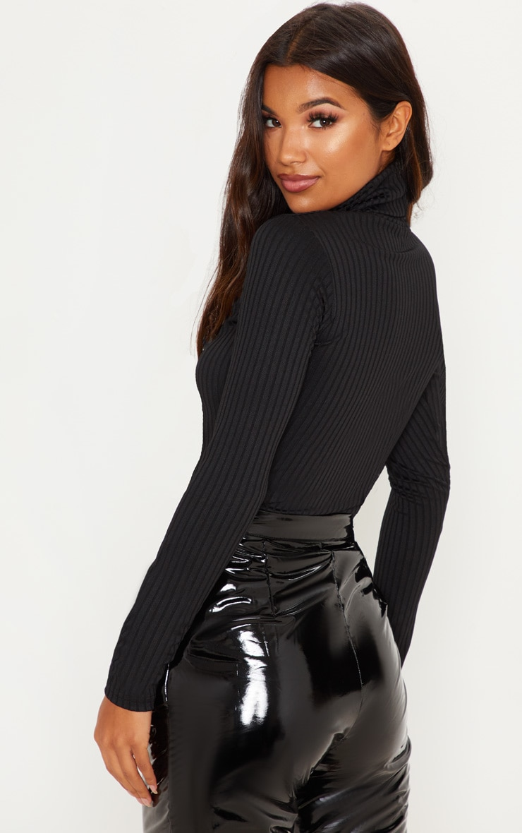 Rheta Black Ribbed Polo Neck Top 2