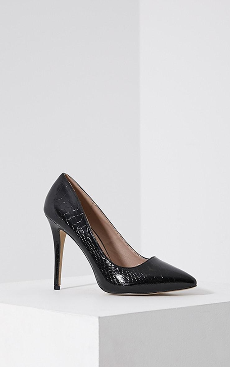Lori Black Patent Snake Skin Pointed Court Heels 3