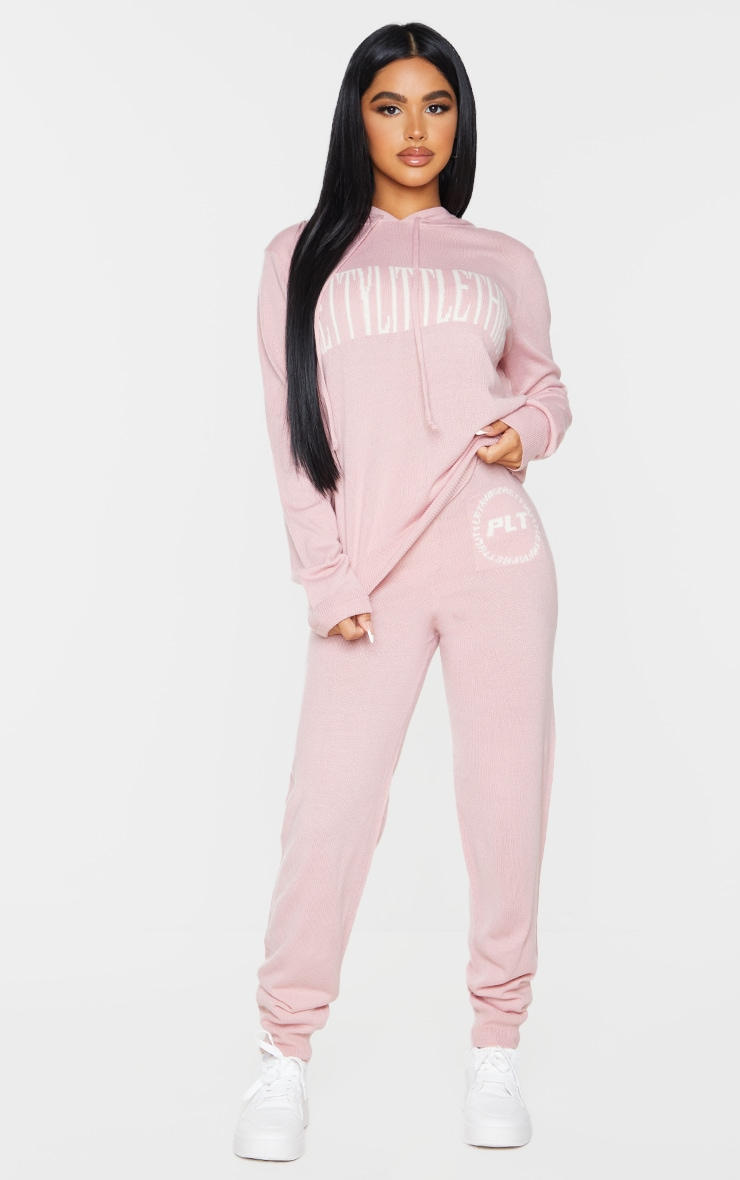 PRETTYLITTLETHING Petite Pink Knitted Joggers 1