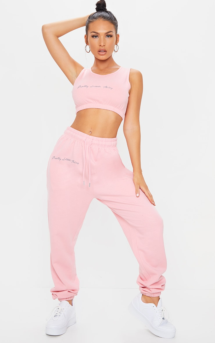 PRETTYLITTLETHING Candy Pink Embroidered Oversized Joggers 1