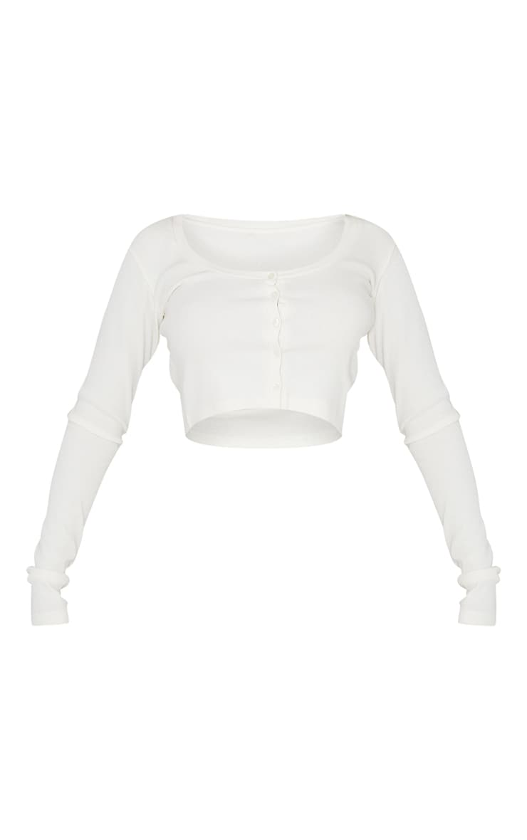 White Soft Rib Button Front Long Sleeve Top 5