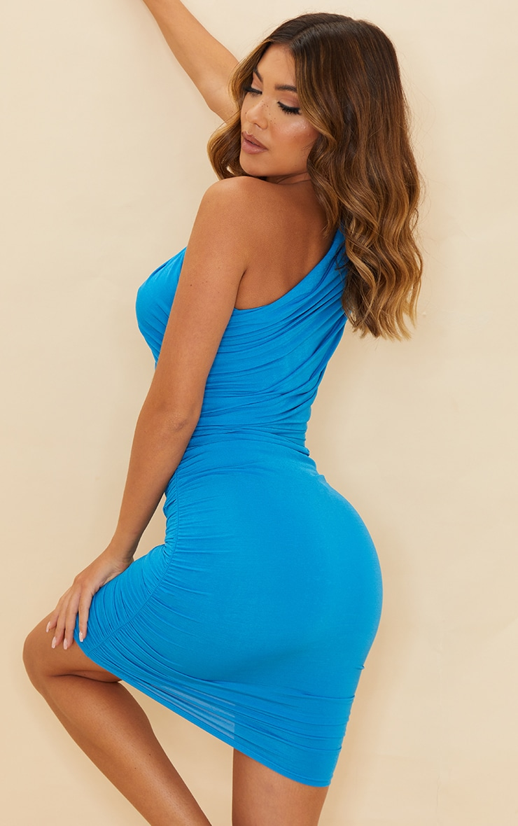 Blue Slinky Ruched One Shoulder Bodycon Dress 2