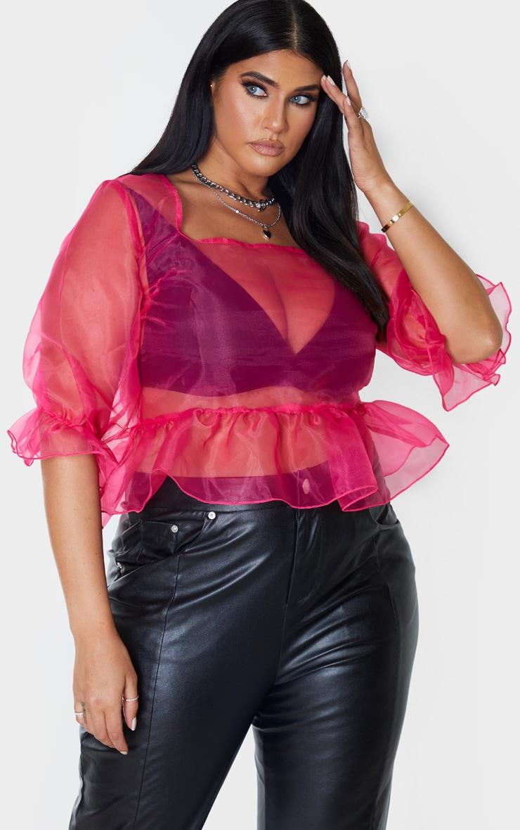 Plus Hot Pink Sheer Organza Puff Sleeved Crop Top 3