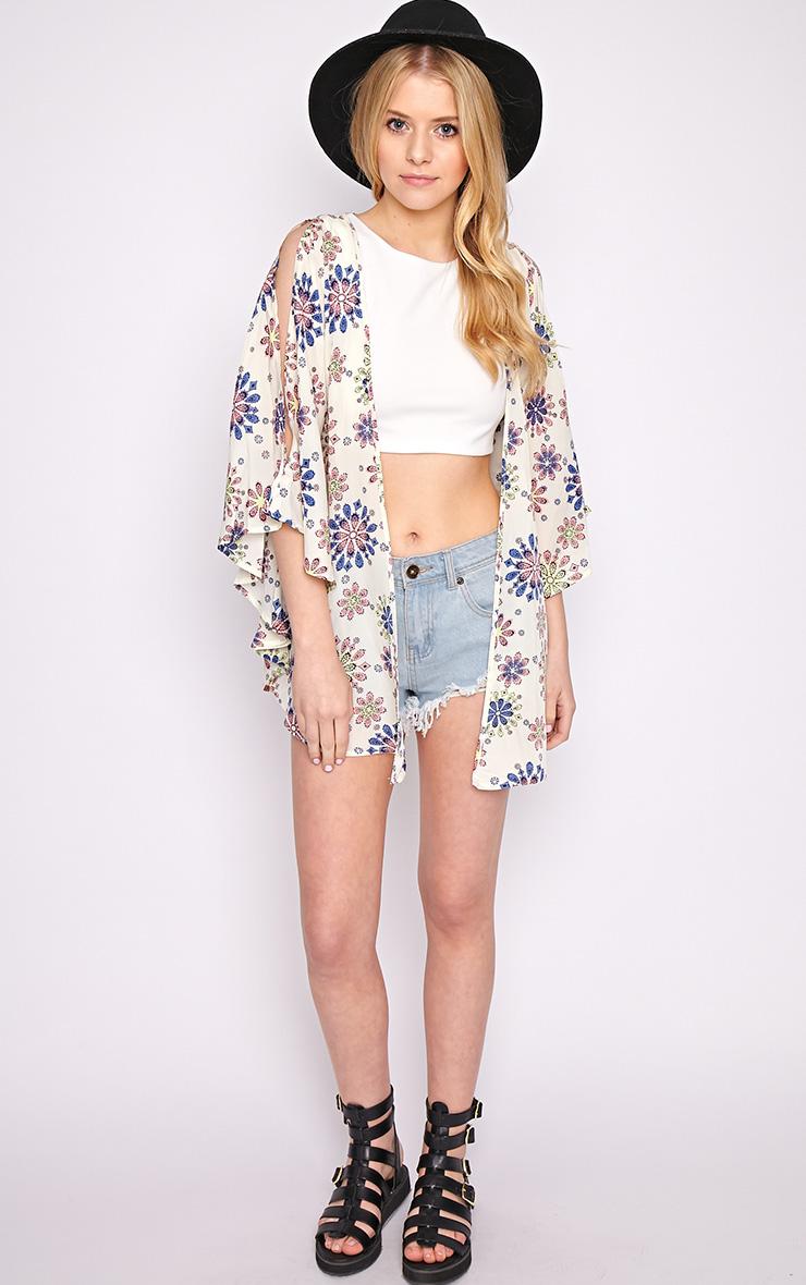 Zoey Cream Print Kimono  4