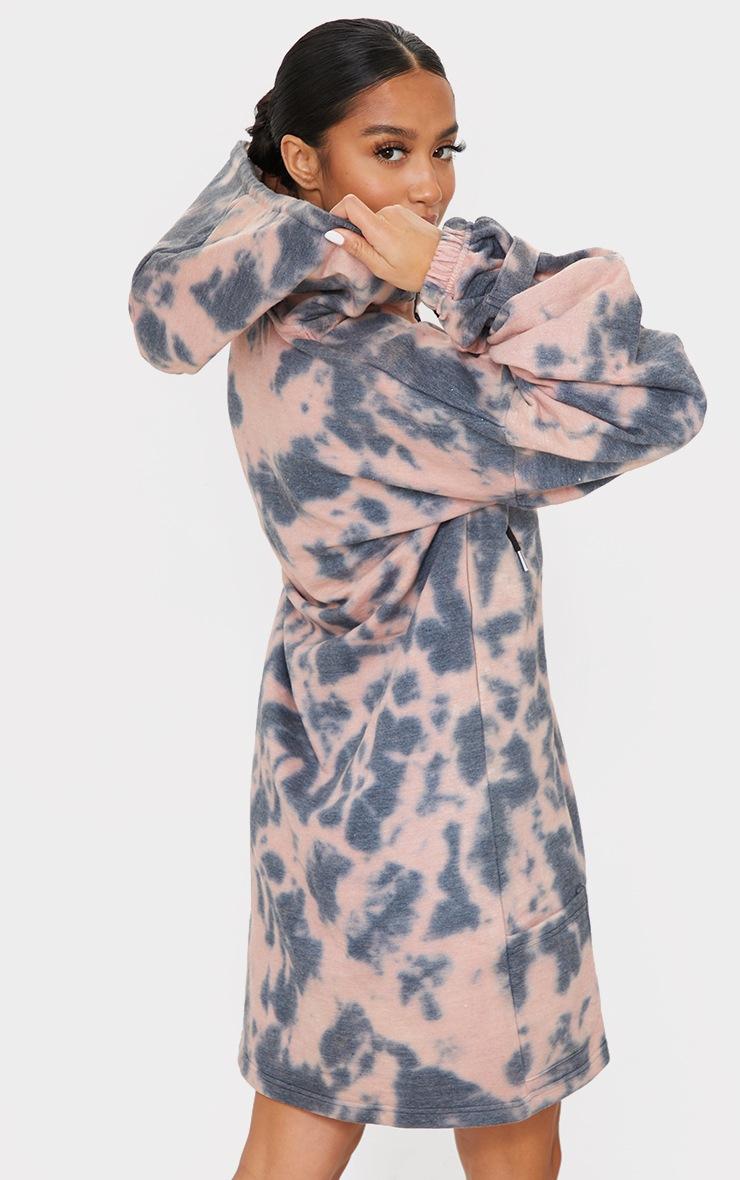 Petite Pink Tie Dye Zipped Hoodie Dress 2