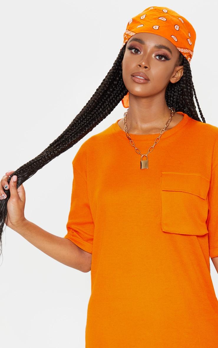 Bright Orange Waffle Pocket Front T Shirt Dress 5