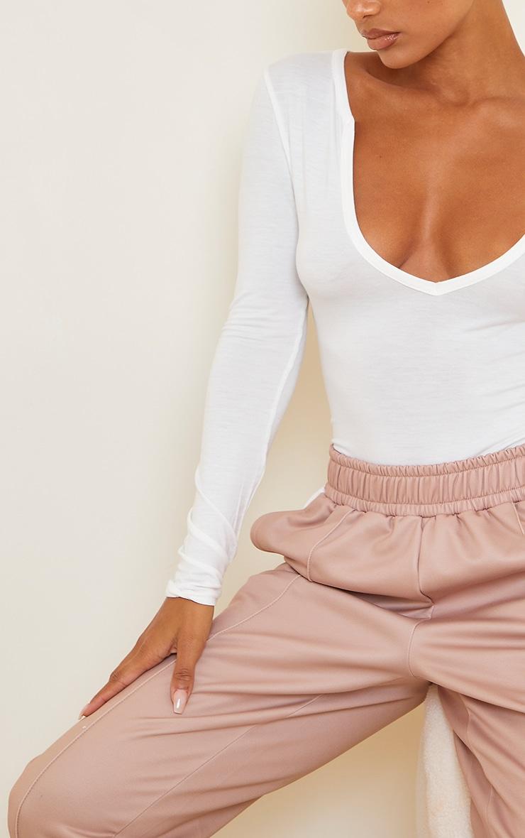 Cream Basic Plunge Long Sleeve Bodysuit 4