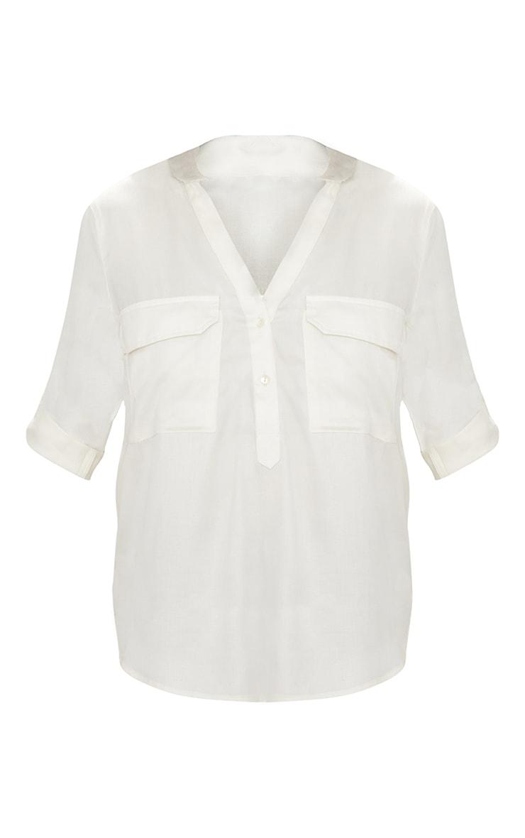 Cream Satin Pocket Front Loose Shirt  3