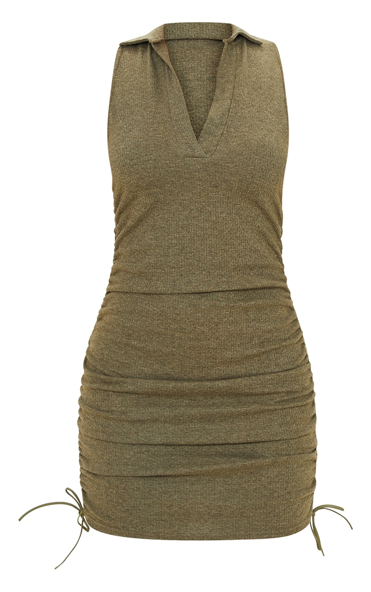 Khaki Brushed Broderie Polo Collar Ruched Bodycon Dress 5