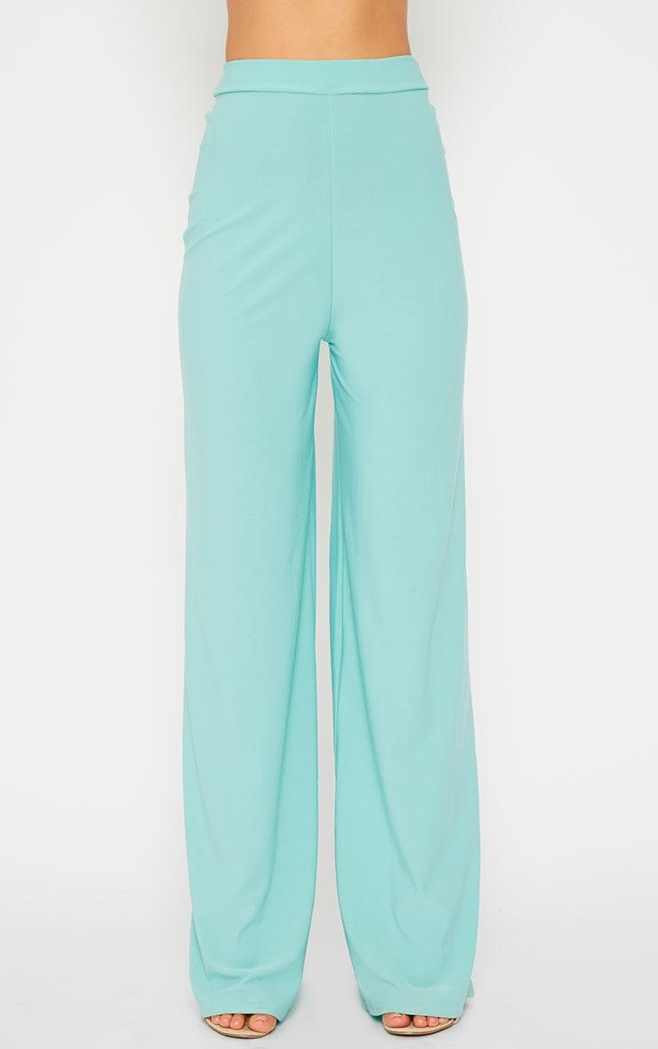 Zafia Mint Crepe Palazzo Trousers 3