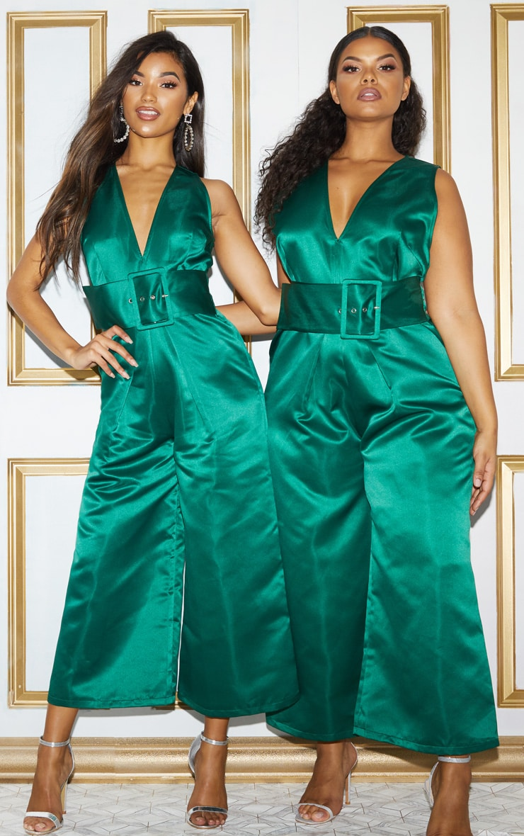 Green Satin Belt Culotte Jumpsuit 2