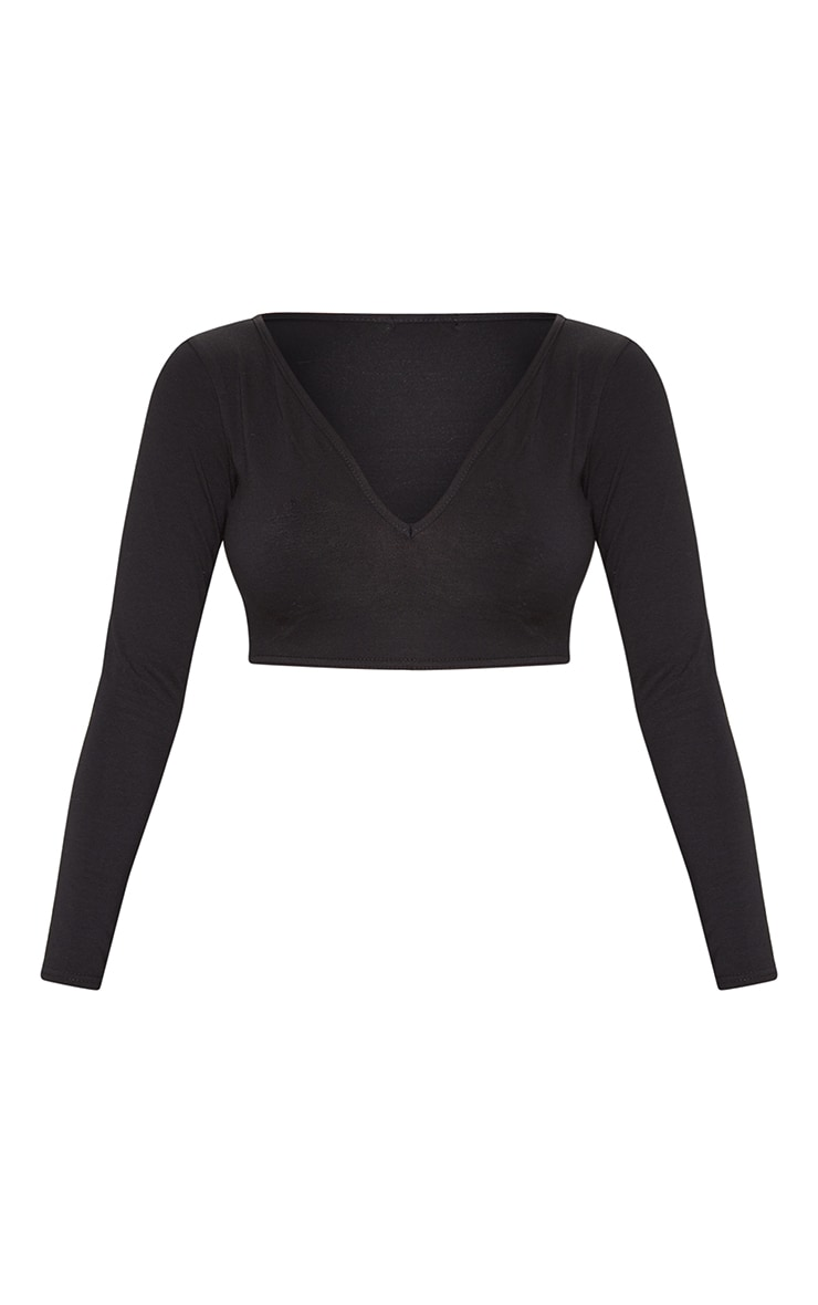 Basic Black Longline Long Sleeve Top 3