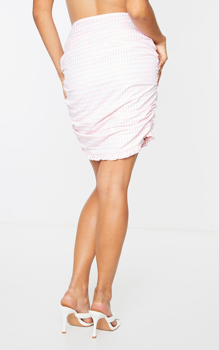 Pink Gingham Ruched Side Mini Skirt 3