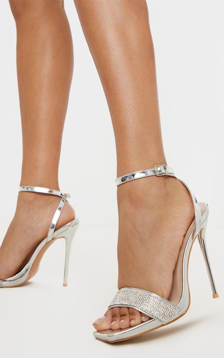 Silver Diamante Strappy High Sandal 1