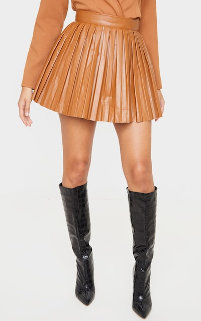 Camel Faux Leather Pleated Skater Skirt