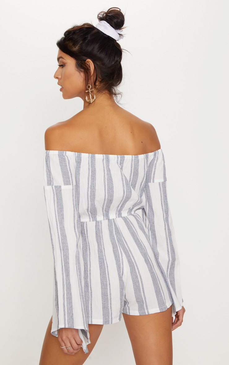 White Stripe Bardot Playsuit 2