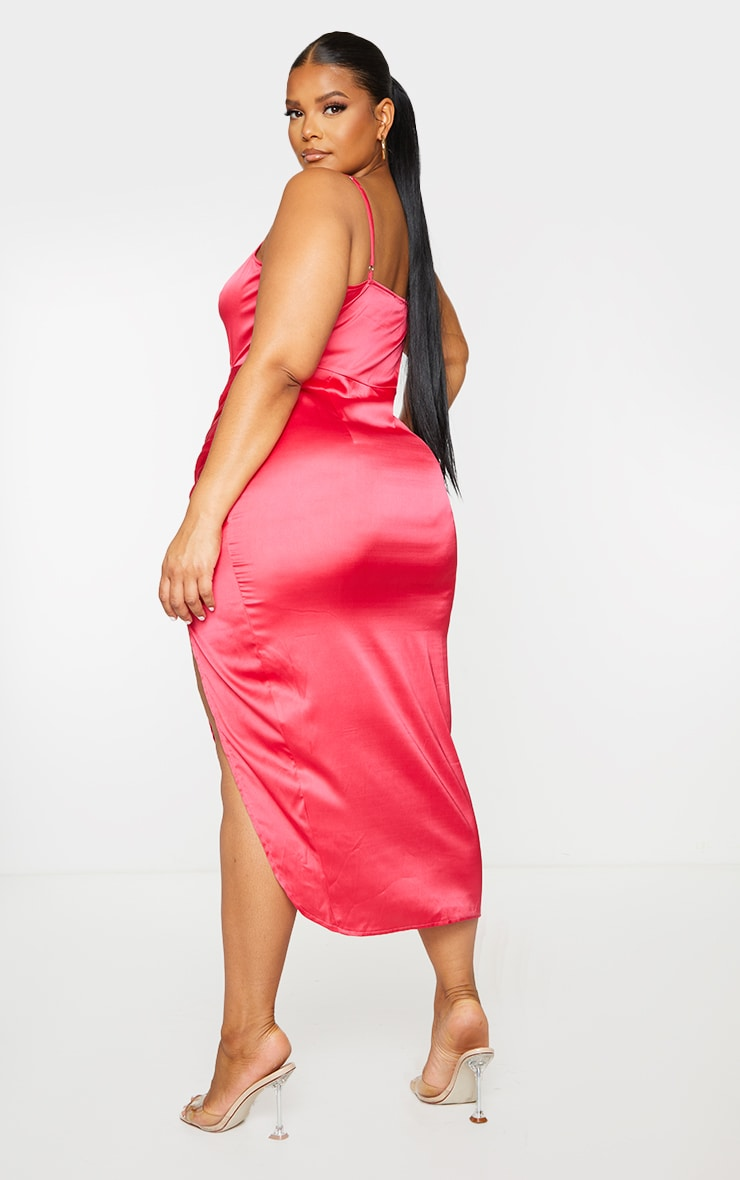 Plus Fuchsia Satin Cut Out Ruched Midaxi Dress 2