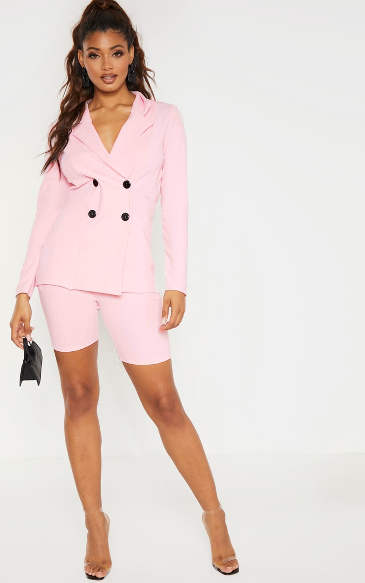 Tall Baby Pink Double Breasted Button Suit Jacket 4