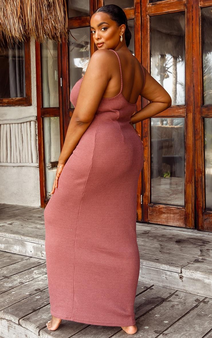 Plus Rose Waffle Knit Maxi Beach Dress 2
