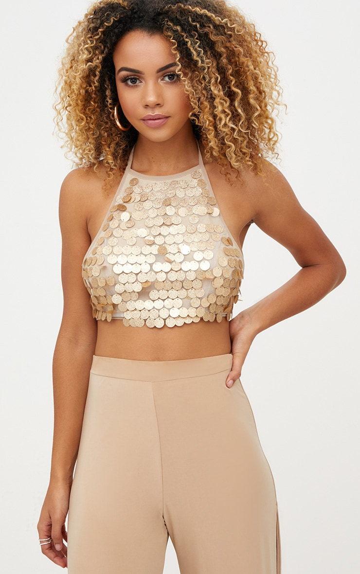 Gold Glitter Sequin Halterneck Crop Top 1