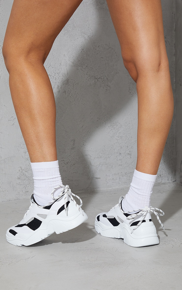 White PU Contrast Mesh Lace Up Sock Detail Sneakers 2