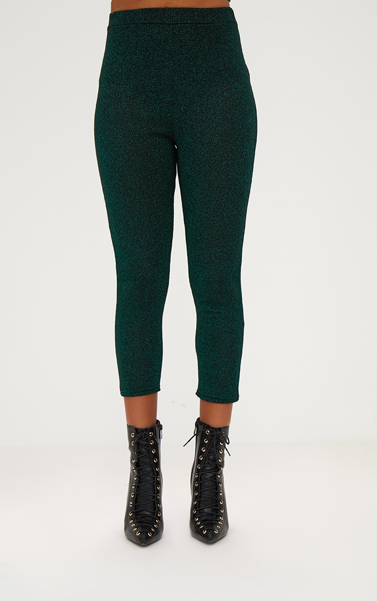 Emerald Green Metallic Cropped Leggings 2