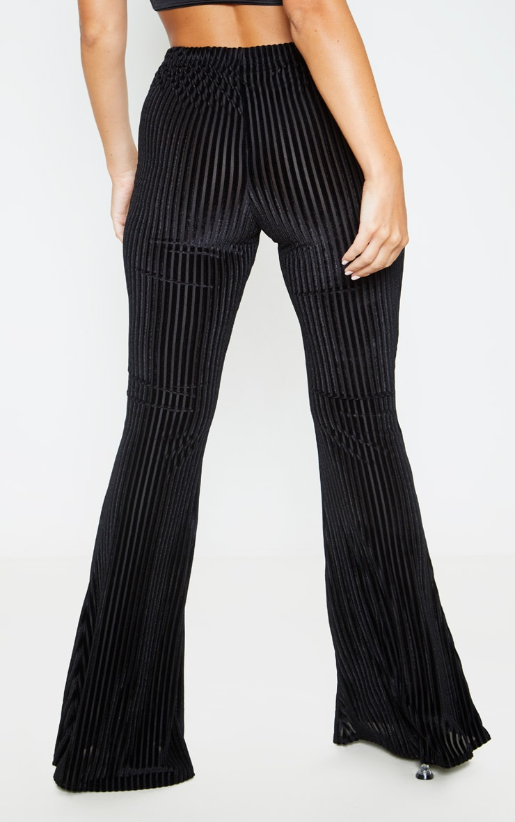 Black Velvet Striped Flare Pants 4