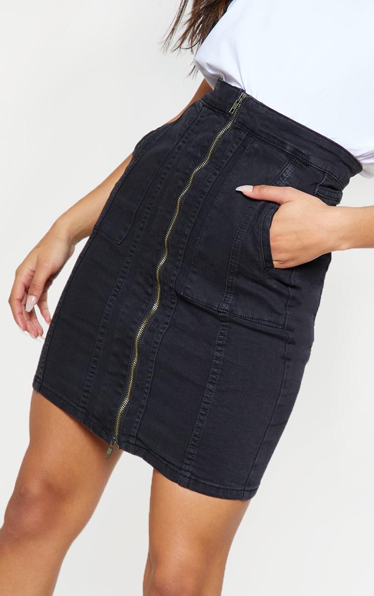 Black Zip Front Seam Detail Midi Skirt 6