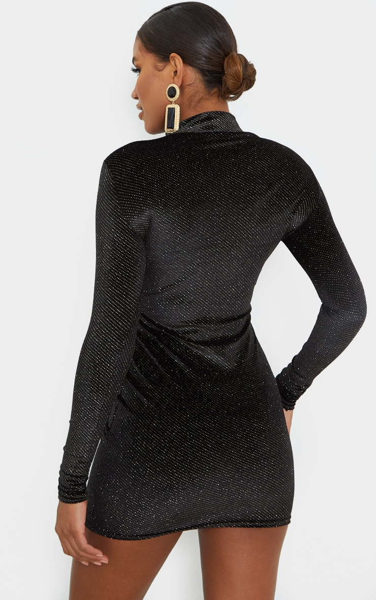 Black Velvet Glitter Neck Long Sleeve Thumb Hole Bodycon Dress 2