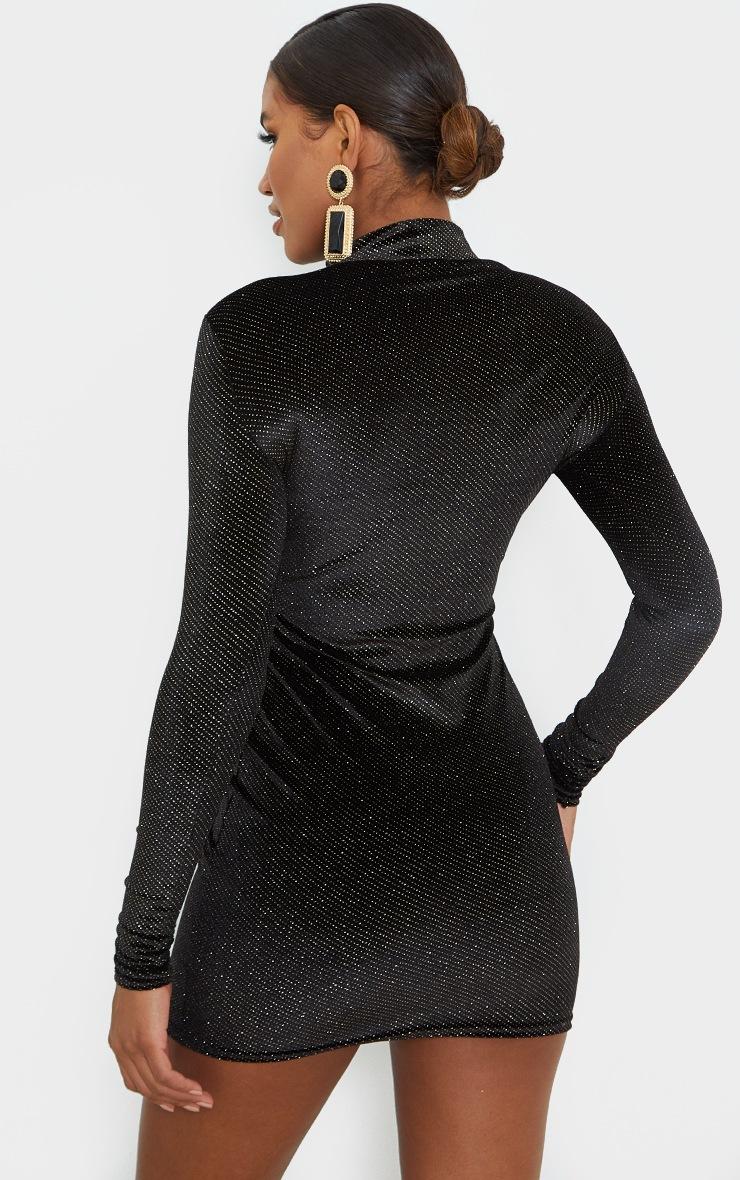 Robe moulante noire en velours pailleté à manches longues et trou pour les pouces 2