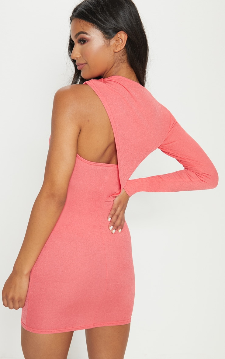 Coral One Shoulder Detail Bodycon Dress 2