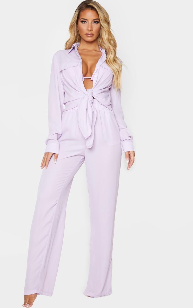Lilac Wide Leg Beach Trouser 1