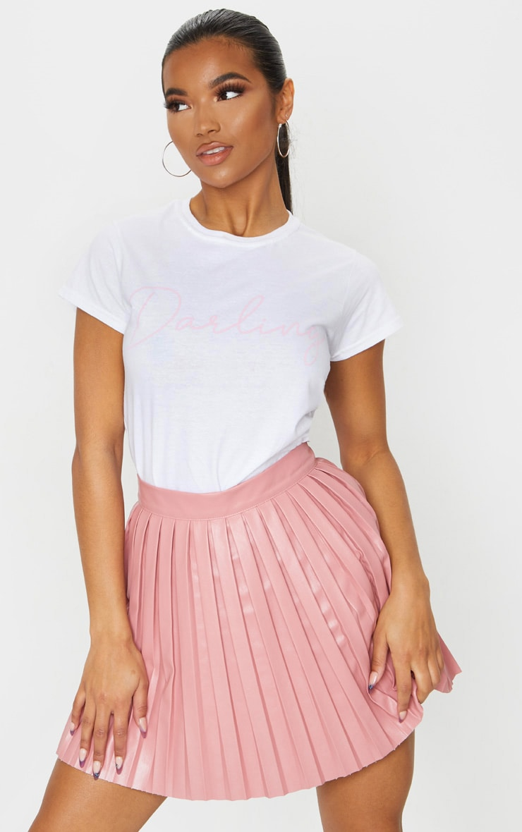White Darling Printed Fitted T Shirt 1
