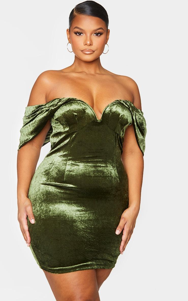 Plus Olive Velvet V Bar Bodycon Dress 3