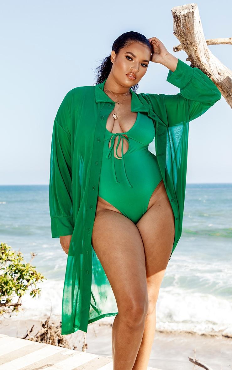 Plus Green Oversized Midi Beach Shirt