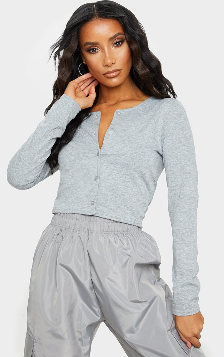 Grey Long Sleeve Button Front Crop Top 1