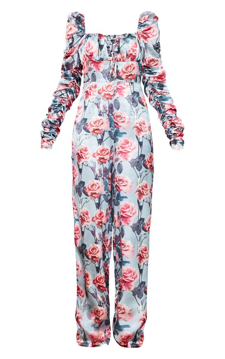 Dusty Blue Rose Print Ruched Sleeve Lace Up Jumpsuit 5