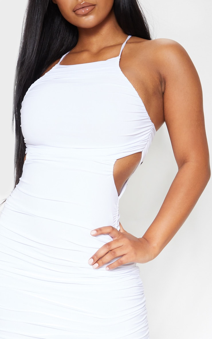 White Slinky Ruched Cross Back Midi Dress 5