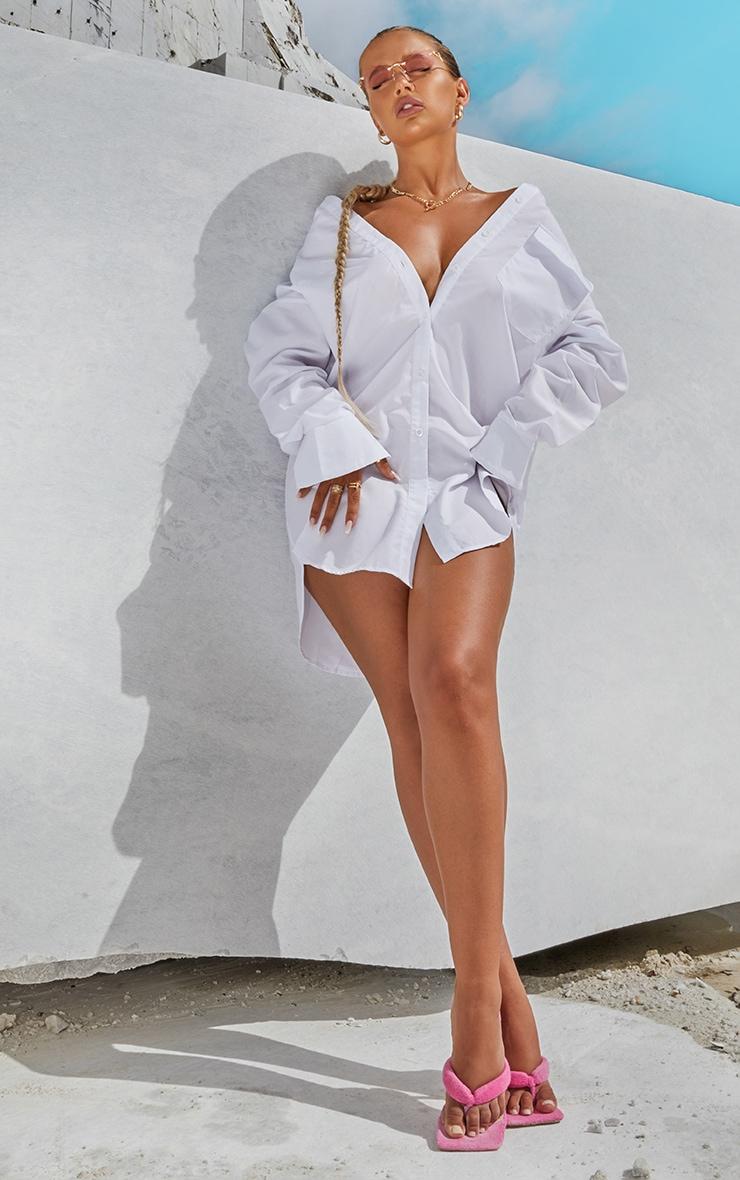 White Bell Cuff Detail Oversized Shirt Dress 1