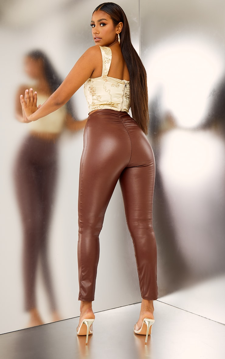 Chocolate Ruched Faux Leather Legging 1